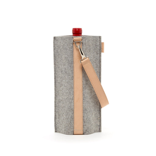Solo Wine Carrier Granite Felt / Tan Leather 1