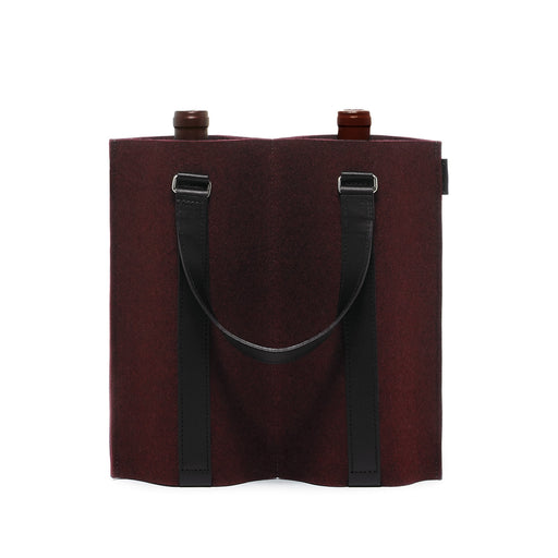 Duo Wine Carrier Burgundy Felt / Black Leather 1