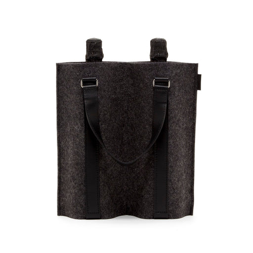 Duo Wine Carrier Charcoal Felt / Black Leather 1