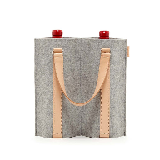 Duo Wine Carrier Granite Felt / Natural Leather 1