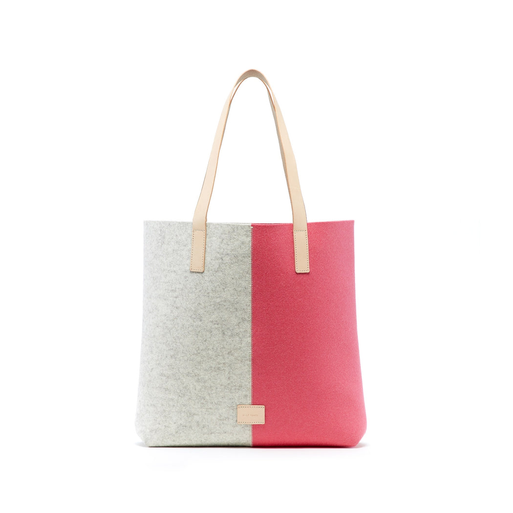 Saku Tote Heather White and Coral 1