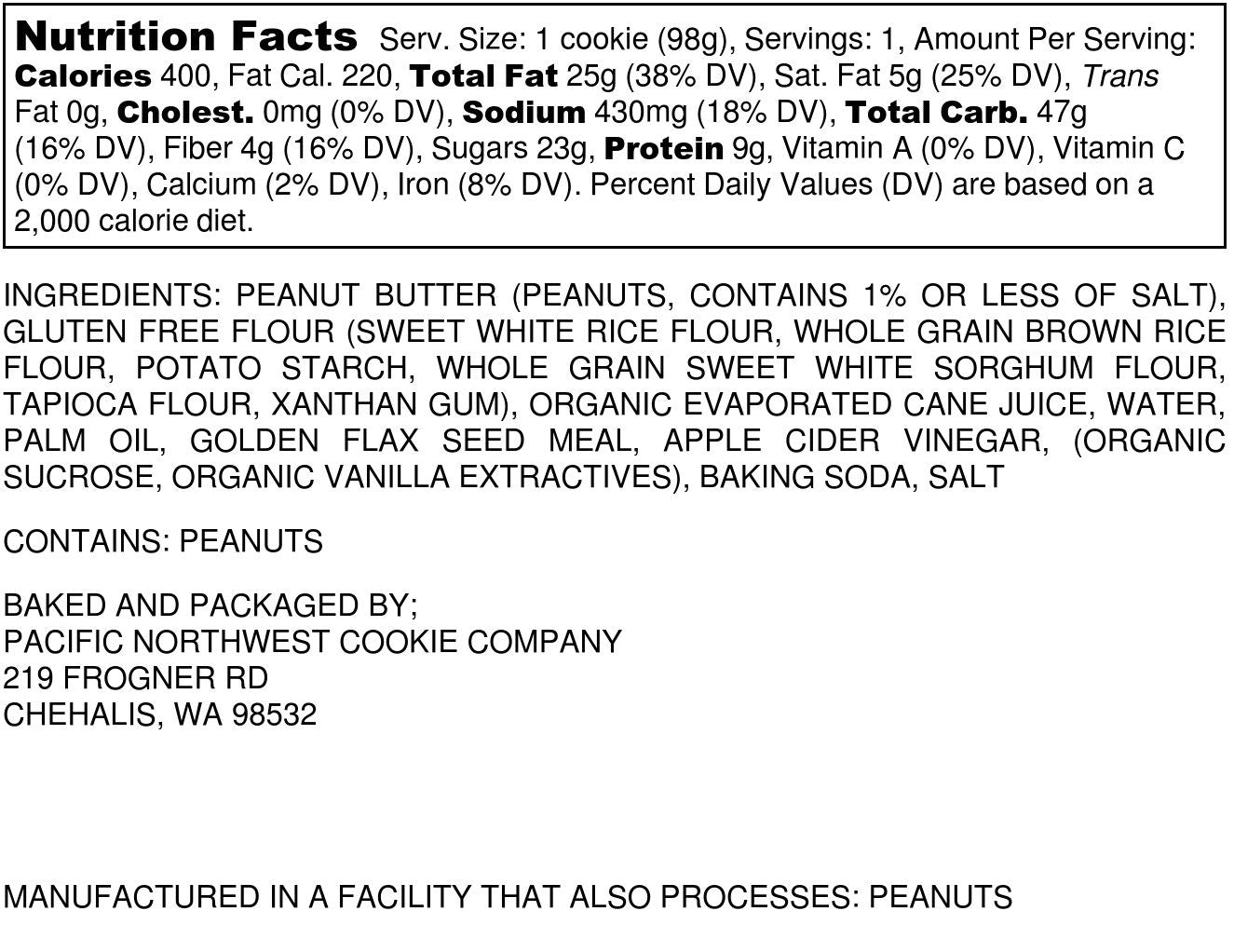 Peanut Butter Nutrition Label