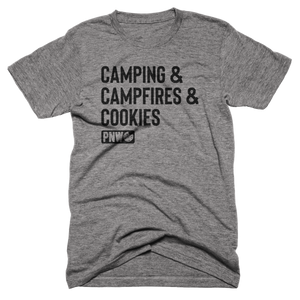 Camping, Campfires & Cookies Tee - Pacific Northwest Cookie Company