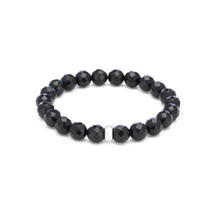 Black Onyx Gemstone Cleansing Bracelet (with silver spacer)