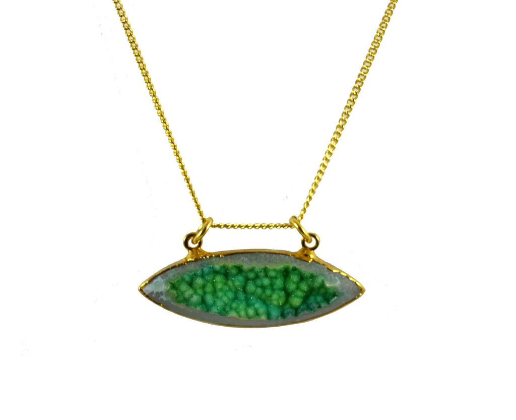 Green Druzy Agate Necklace