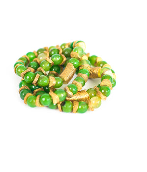 Green Agate Gemstone Bracelet With Gold Detail