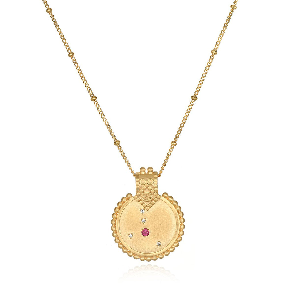 Constellation Zodiac Cancer Ruby Necklace