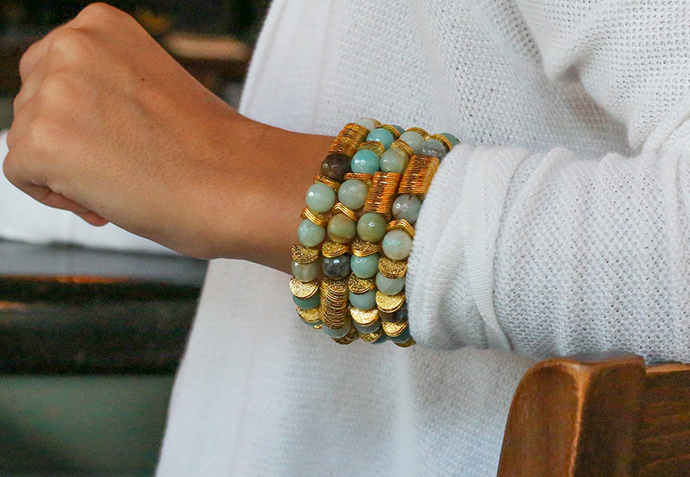 Amazonite Gemstone Bracelet With Gold Detail