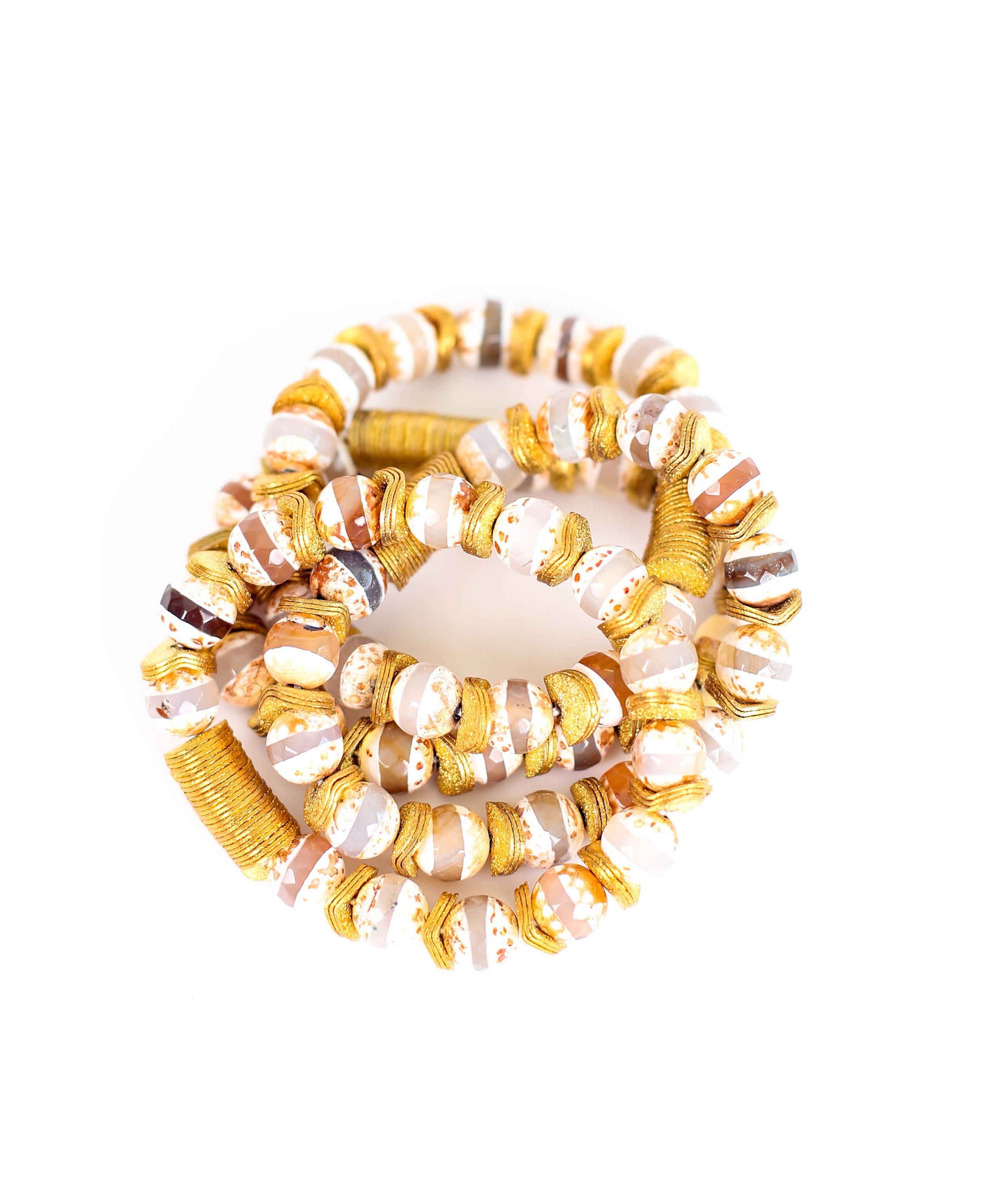 Tibetan Agate Gemstone Bracelet With Gold Detail