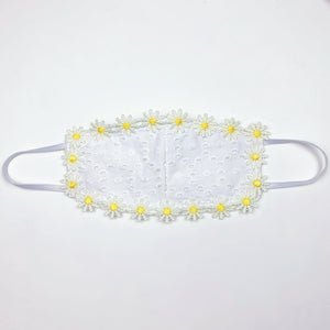 DAISY EYELET FASHION FACE MASK W/ FILTER POCKET