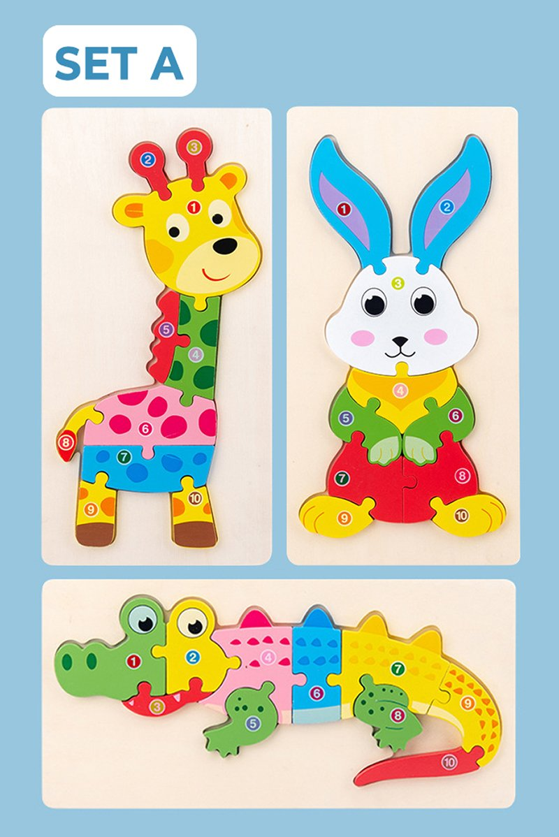 Montessori 3D Puzzle in Tierform (3er Set)