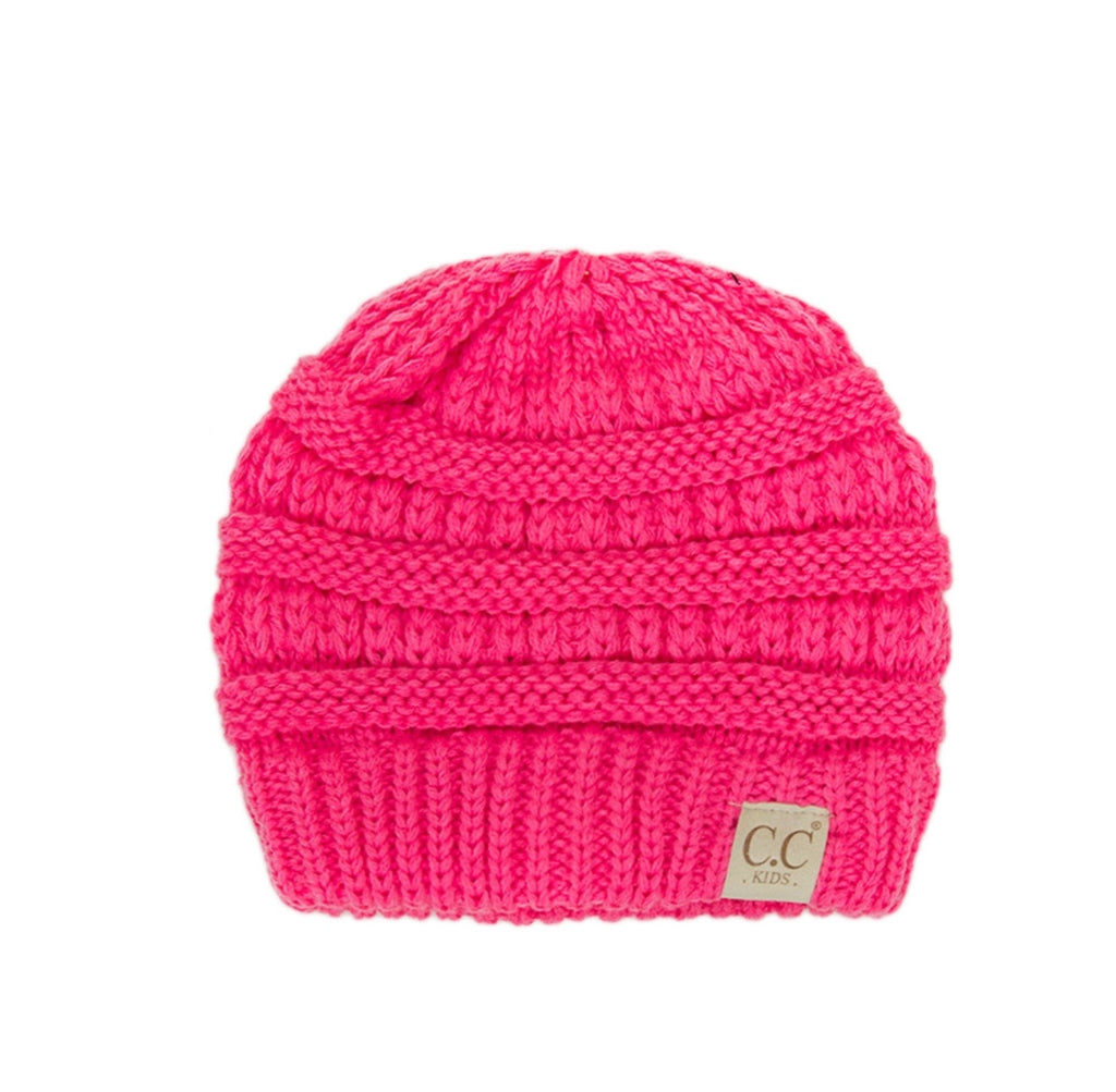 93529ce591c95f Bright Pink C.C Kids Cable Knit Beanie Hat – MeAndMommysCloset