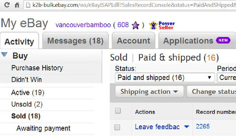Vancouver Bamboo Reviews on Ebay.com