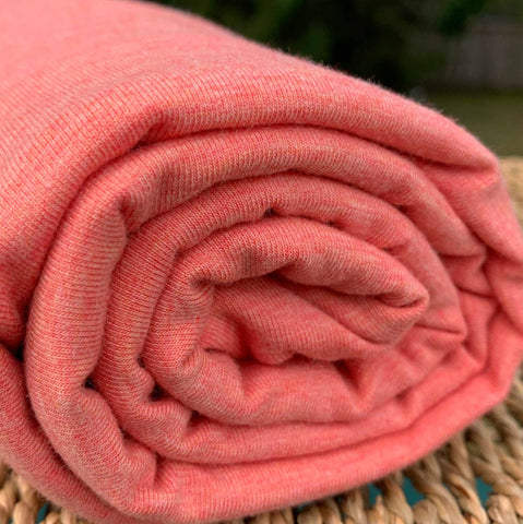 BAMBOO Stretch Jersey Fabric Heather Coral by the Yard or Wholesale - Kinderel Bamboo Fabrics