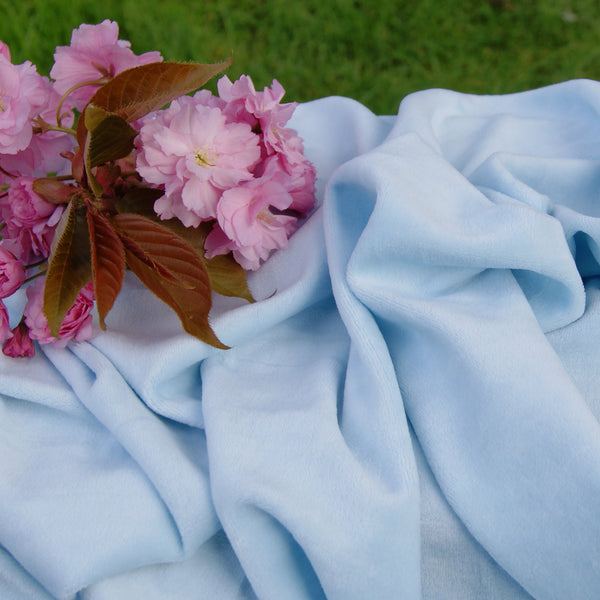 Organic Cotton Velour Fabric - Baby Blue Bolts from $US 7.60/yard - Kinderel Bamboo Fabrics