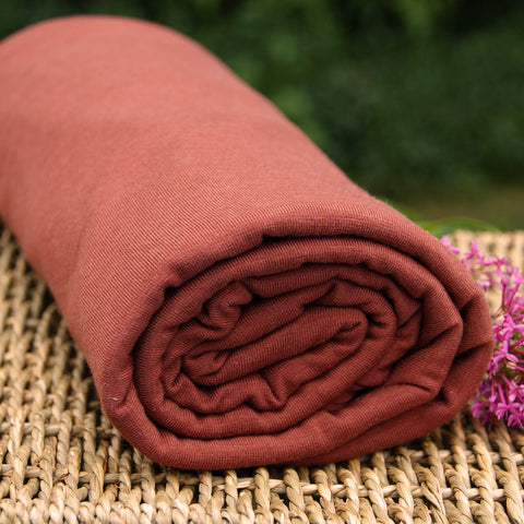 BAMBOO Stretch Jersey Fabric Gingerbread / Rust by the Yard or Wholesale - Kinderel Bamboo Fabrics