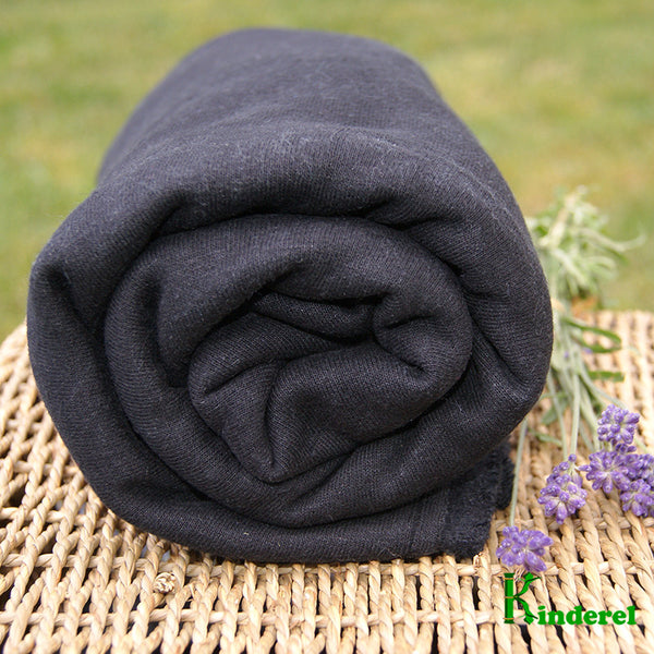 Hemp Organic Cotton Fleece Fabric - Black - Kinderel Bamboo Fabrics