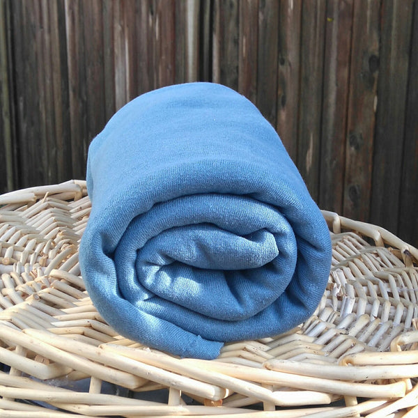 Hemp Fleece Fabric - Blue - Kinderel Bamboo Fabrics