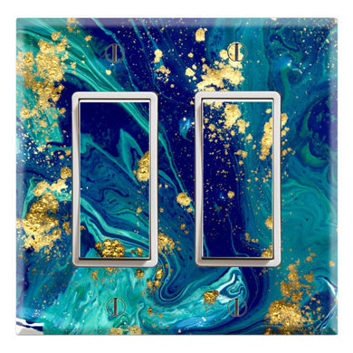 Blue Gold Mixed Cobalt Drops Waves Design Print
