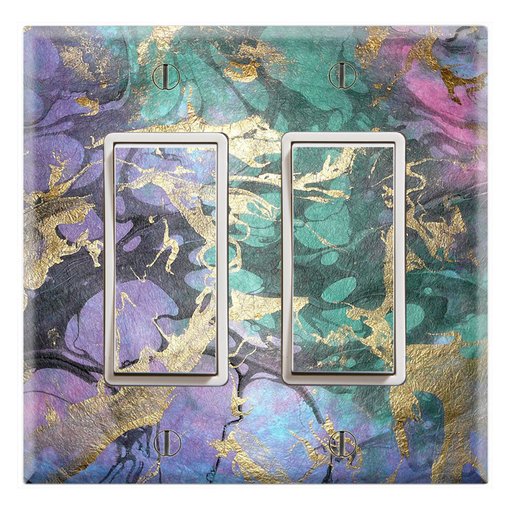 Purple Marble Green Pink Background Print