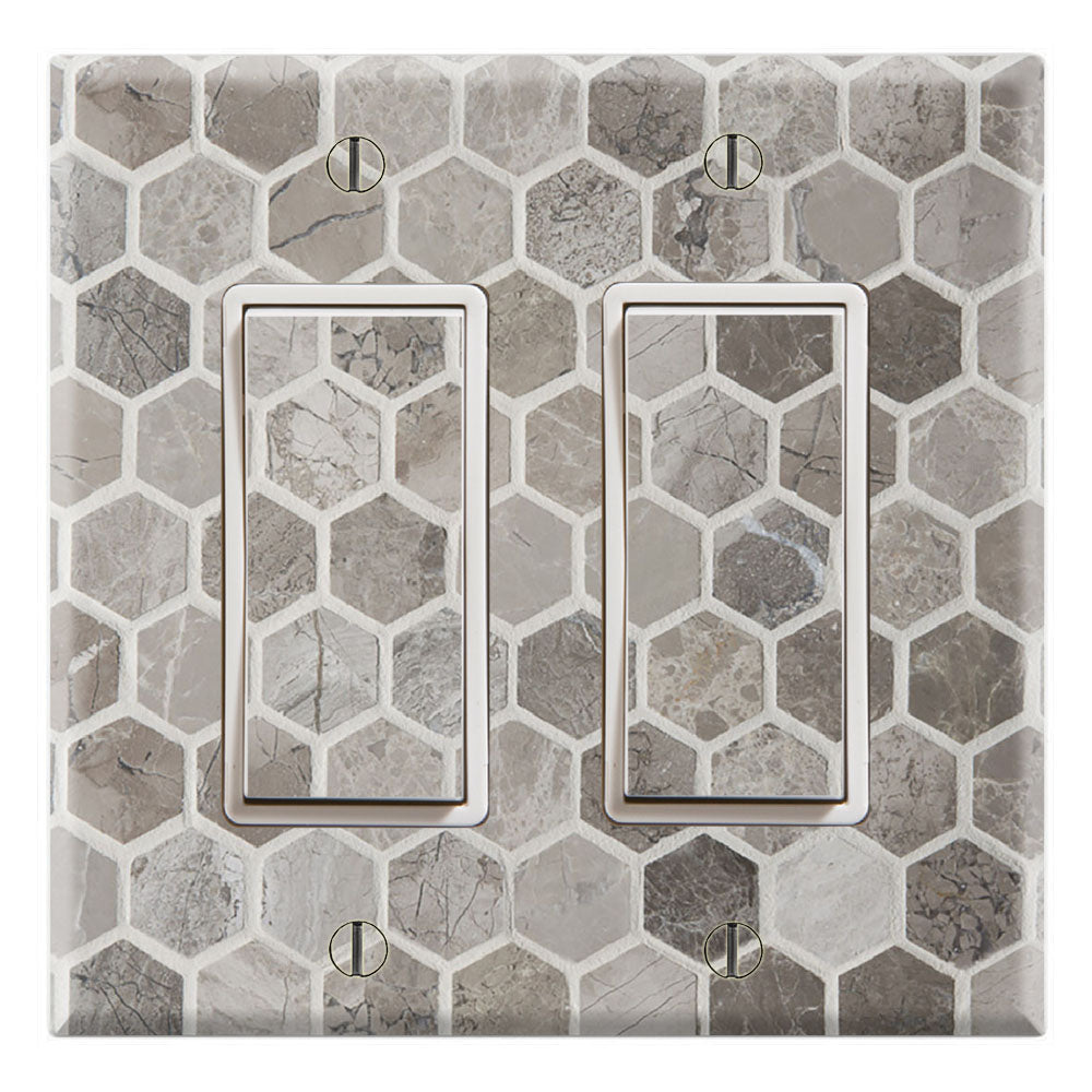 Mosaic Tile Grey Marble Background Print