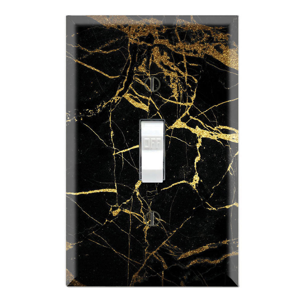 Gold Black Marble Background Print