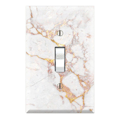 Gold and White Color Mixed Textures Marble Print