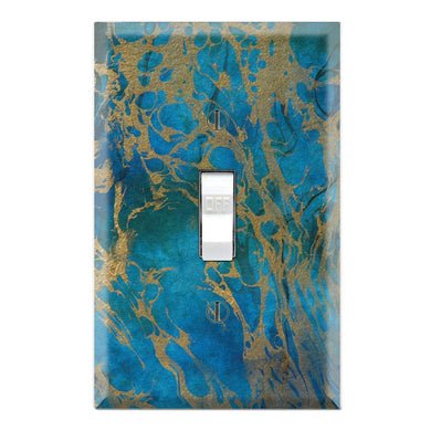 Blue Cobalt and Gold Marble Art Design Print