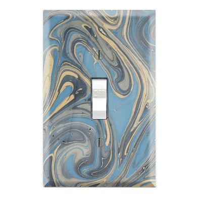 Gold Blue Paint Drops Mix Marble Print