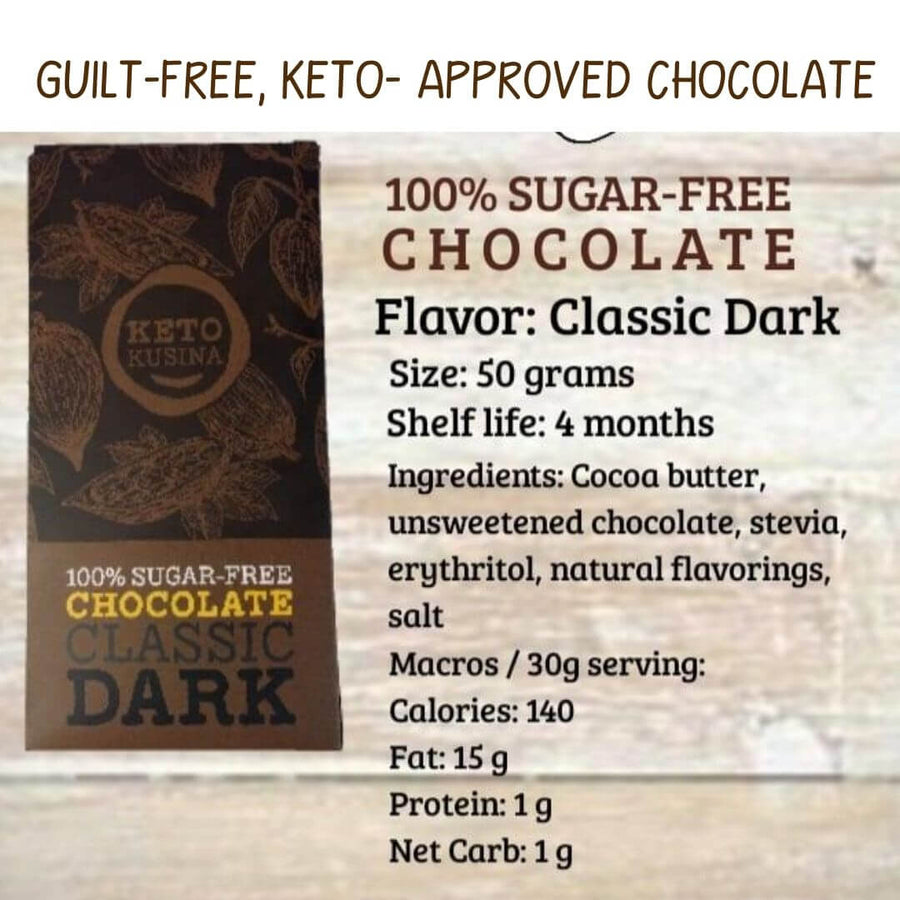 Sugar-free Classic Dark Chocolate with Stevia -50g - Healthy Choices PH by Casa Kusina