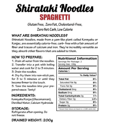 "Shirataki Spaghetti Noodles - ""the Skinny"" noodles 200g - Healthy Choices PH by Casa Kusina"