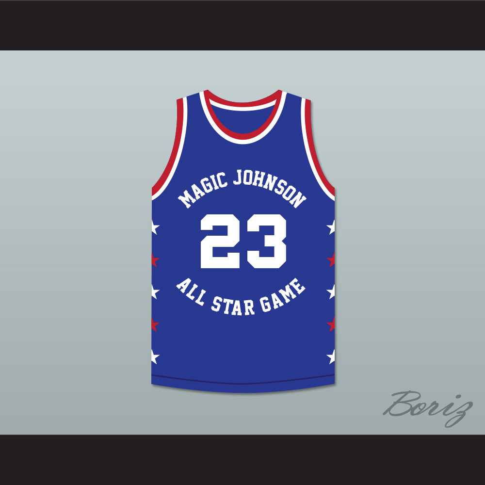big sale 882ee c69d3 Michael Jordan 23 Magic Johnson All Star Game Blue Basketball Jersey 1988  Midsummer Night's Magic Charity Event