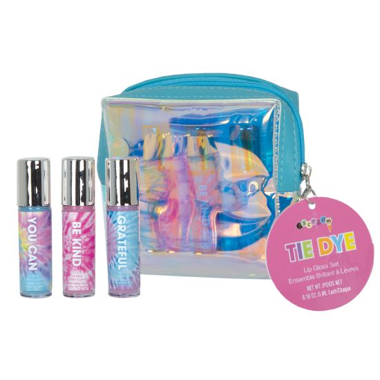 TIE DYE 3 MINI LIP GLOSSES IN POUCH