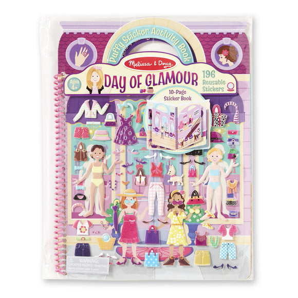 Melissa & Doug Deluxe Puffy Sticker Album- Day of Glamour