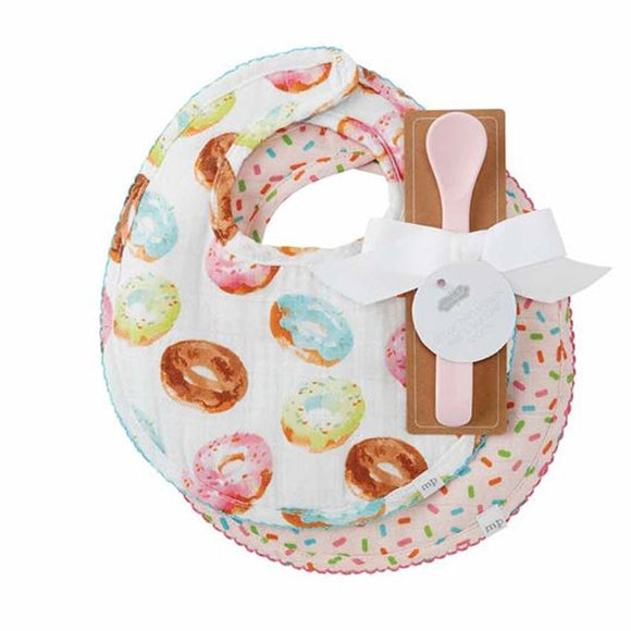 Donut Muslin Bibs and Spoon Set