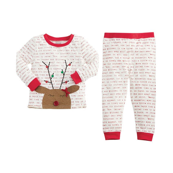 Mud Pie WHITE PRINTED REINDEER PAJAMA SET