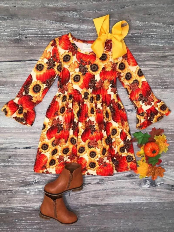 Golden Sunflower Pumpkin Dress