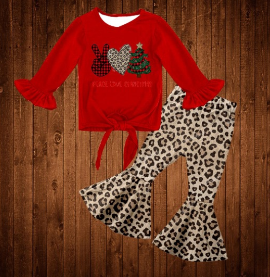 Peace, Love, Christmas Leopard Bell Bottoms Set