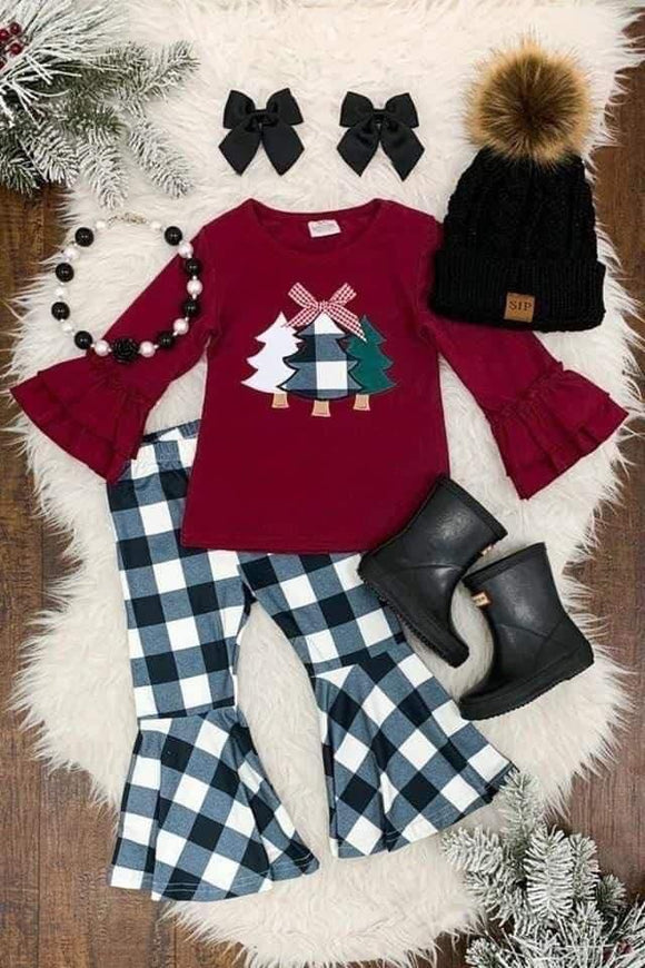 Buffalo Plaid Tree Top and Bell Bottoms Set