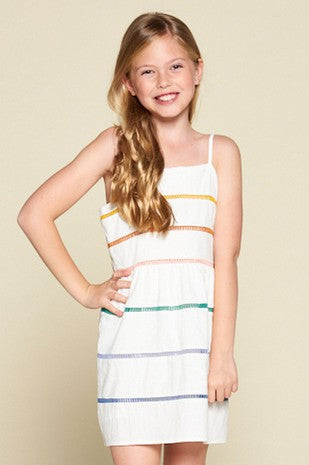 FOR ALL SEASONS - SPAGHETTI STRAP DRESS WITH MULTICOLOR LATTICE TRIM