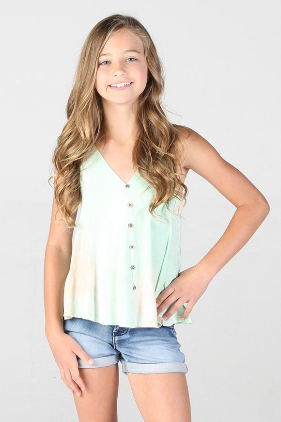 TIE DYE FAUX BUTTON FRONT SWING TANK - CORAL MINT