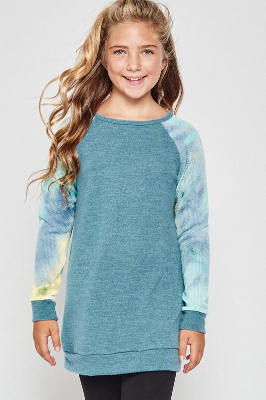 Tiedye Sleeve Raglan Sweater Top- Teal/Green