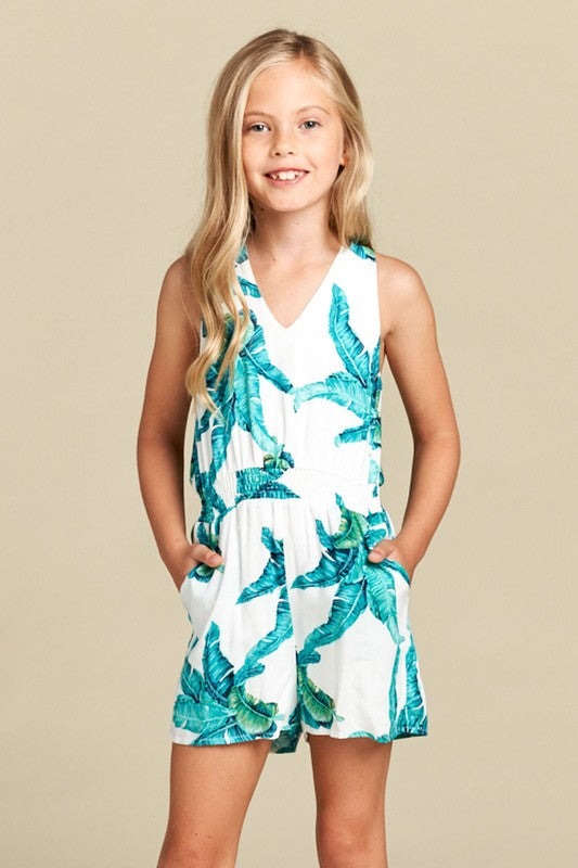 FOR ALL SEASONS - PALM PRINT HALTER TOP ROMPER
