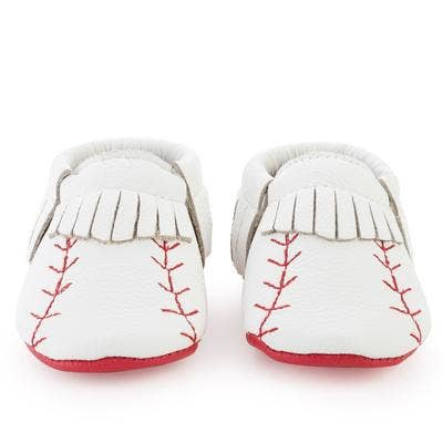 Leather Baby Moccasins - Baseball Fringe