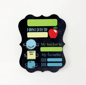 Stamp Out - First Day of School Sign - Apple Theme