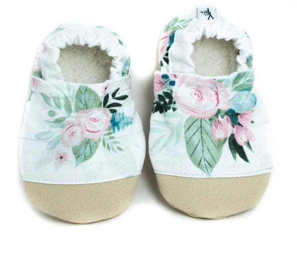 Yeti Moccs - Non-Slip Watercolor Rose Baby Moccs
