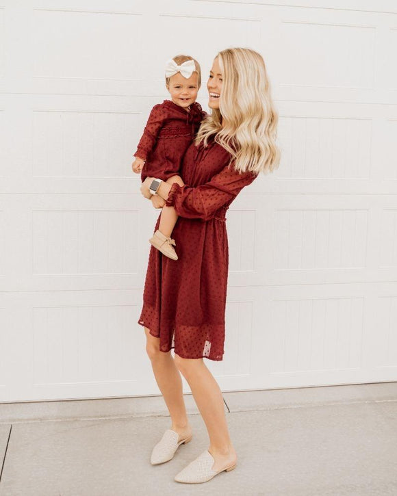 Mommy and Me Diana Tie-Front Dot Dress - Wine