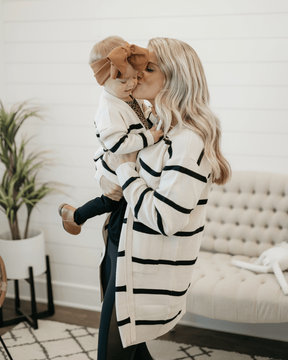 Kris Mommy & Me Oversized Cardigan - Cream & Black Stripe