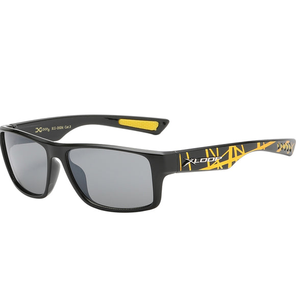 Splash Print Polycarbonate Wrap kids Sunglasses - Yellow/Gold