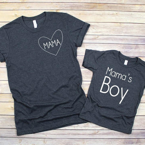 Mama's Boy- Mommy and Me Shirt: Dark Grey Heather